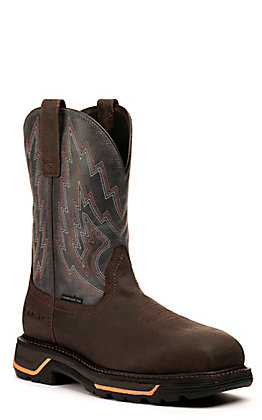 Ariat Men's Big Rig Iron Coffee and Slate Wide Composite Square Toe Work Boot