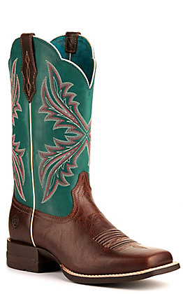 Ariat Women's West Bound Brown Patina and Blue Grass Shock Shield Wide Square Toe Western Boots