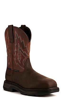 Ariat Men's Big Rig Dark and Distressed Brown Waterproof Wide Composite Toe Work Boot