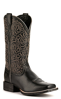 Ariat Women's Round Up Remuda Black Deertan Wide Square Toe Wester Boot