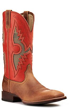 Ariat Men's Solado VentTEK Sorrel Brown and Red Bantamweight Wide Square Toe Western Boot