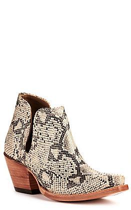 Ariat Women's Dixon Black and White Snake Print Snip Toe Western Booties