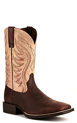 Ariat Men's Amos Shock Shield Barley Brown and Trucker Tan Wide Square Toe Western Boots