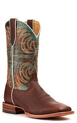 Ariat Men's Storm Bottle Brown and Cool Blue Wide Square Toe Western Boots