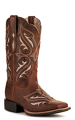 Ariat Women's Round Up Bliss Sassy Brown with Glitter Inlay Wide Square Toe Western Boot