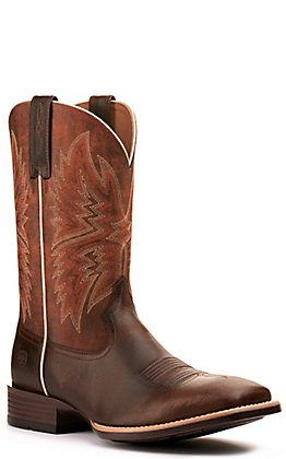 Ariat Men's Valor Ultra Dark Whiskey and Bonfire Brown Wide Square Toe Western Boot