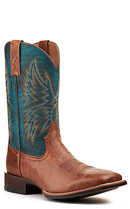 Ariat Men's Valor Ultra Dark Tan and Rocky Blue Wide Square Toe Western Boot