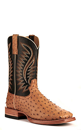 Ariat Men's Gallup Tan Full Quill Ostrich and Black Wide Square Toe Exotic Western Boot