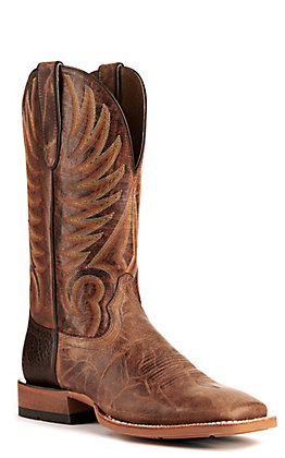 Ariat Men's Toledo Natural Crunch and Montana Brown Wide Square Toe Western Boot
