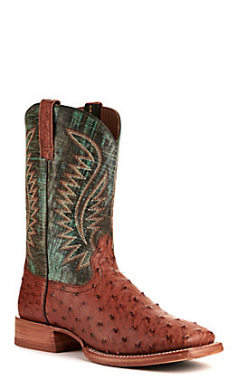 Ariat Men's Gallup Brandy and Turquoise Full Quill Ostrich Wide Square Toe Western Boot