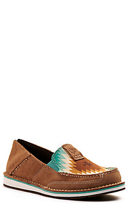 Ariat Women's Cruiser Dark Tan Suede and Saddle Blanket Print Casual Shoes