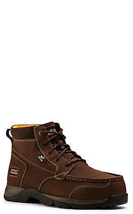 Ariat Men's Edge LTE Dark Brown Chukka MetGuard Round Composite Toe Lace Up Work Boot