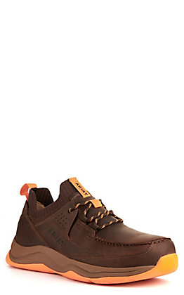 Ariat Men's Working Mile Brown and Orange Round Composite Toe Work Shoe
