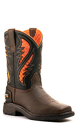 Ariat Youth Cocoa Brown and Orange VentTEK Wide Square Toe Work Boots