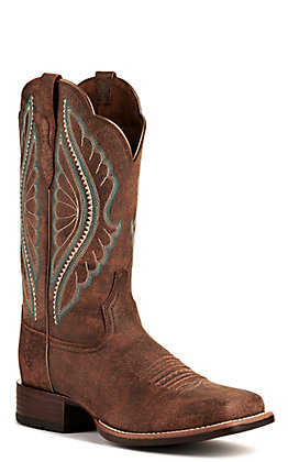 Ariat Women's PrimeTime Tack Room Brown Bantamweight Wide Square Toe Western Boots