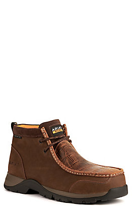 Ariat Men's Edge LTE Brown and Matte Brown Croc Print Bantamweight Moc Composite Toe Lace Up Work Boot