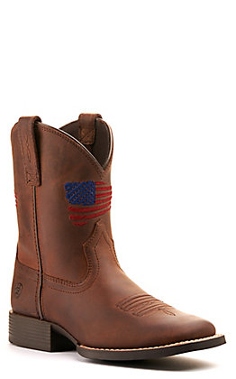 Ariat Youth Patriot II Distressed Brown with Flag Embroidery Wide Square Toe Western Boots