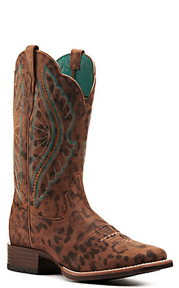 Ariat Women's PrimeTime Brown Faded Leopard Bantamweight Wide Square Toe Western Boot