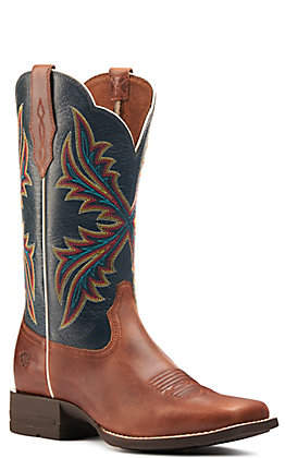 Ariat Women's West Bound Russet Rebel and Crackle Navy Bantamweight Wide Square Toe Western Boot