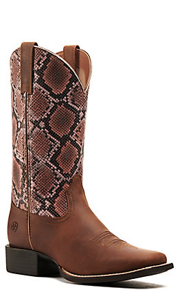 Ariat Women's Round Up Sassy Brown and Pink Snake Print Wide Square Toe Western Boots