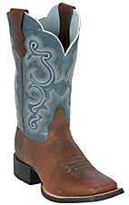 Ariat Ladies Brown Oiled Rowdy Quickdraw w/ Sapphire Blue Wide Square Toe Boots