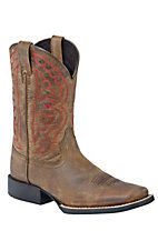 Ariat Kids Distressed Brown Quickdraw Boots w/Red Stitching