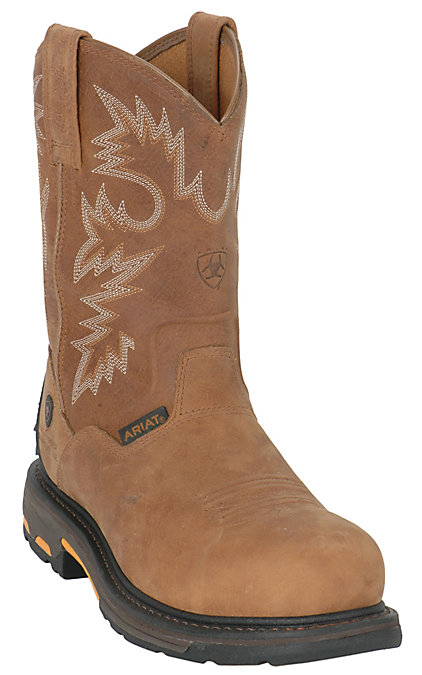 bf59b2e9891 Ariat Men's Rugged Bark WorkHog Composite Toe Waterproof Pull-On Work Boots