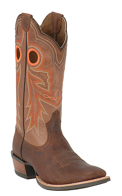 ac0b0057329 Ariat Wildstock Men's Weathered Brown & Quartz Wide Square Toe Western Boots