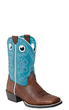 Ariat Children's Crossfire- Brown Oiled Rowdy w/Turq Wide Square Toe Boot