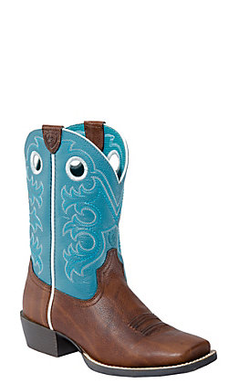 Ariat Children's Crossfire- Brown Oiled Rowdy with Turq Wide Square Toe Boot