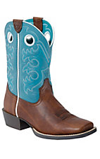 Ariat Youth Crossfire - Brown Oiled Rowdy w/Turq Top Wide Square Toe Boot