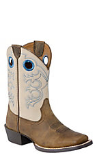 Ariat Children's Crossfire- Distressed Brown w/Cream Wide Square Toe Boot