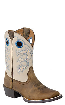 Ariat Children's Crossfire- Distressed Brown with Cream Wide Square Toe Boot