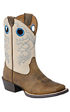 Ariat Youth Crossfire - Distressed Brown w/Cream Top Wide Square Toe Boot