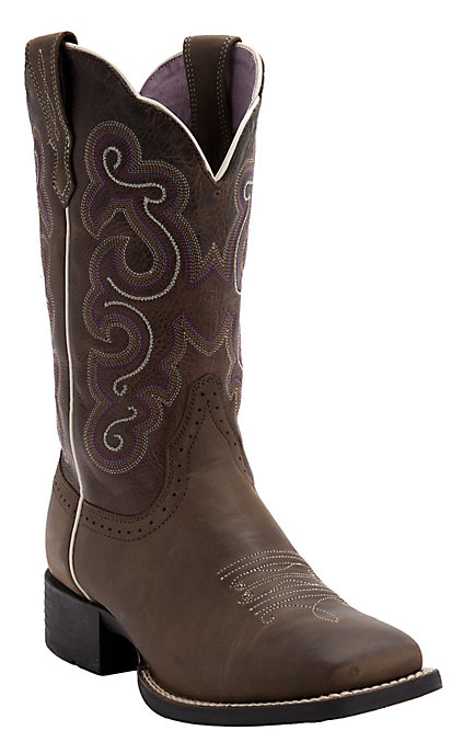 cc77ef1d8a3 Ariat Women's Bad Lands Brown Quickdraw Wide Square Toe Western Boot