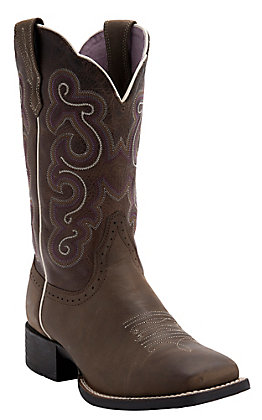 Ariat Women's Bad Lands Brown Quickdraw Wide Square Toe Western Boot
