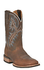 Ariat Men's Quickdraw Brown Oiled Rowdy Double Welt Wide Square Toe Western Boots