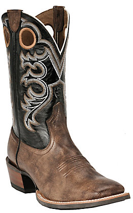 Ariat Men's Crossfire Weathered Brown and Black Wide Square Toe Western Boots