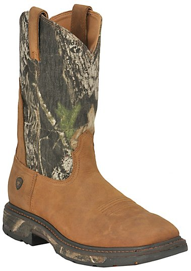 Ariat Men's Aged Bark w/ Mossy Oak Camo Top WorkHog Square Toe ...