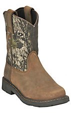 Ariat Youth Distressed Brown w/ Mossy Oak Camo Top Sierra Round Toe Western Boot