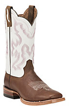 Ariat Men's Nitro Weathered Brown w/White Double Welt Wide Square Toe Western Boot