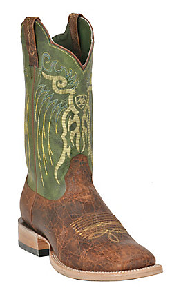 Ariat Men's Mesteno Adobe Clay and Neon Green Wide Square Toe Western Boots