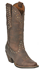 Ariat Ladies Sassy Brown Rhinestone Cowgirl Snip Toe Western Boots