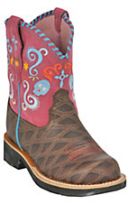 XEMAriat Youth Dark Brown Anteater Print w/ Pink Top Fiesta Showbaby Western Boot