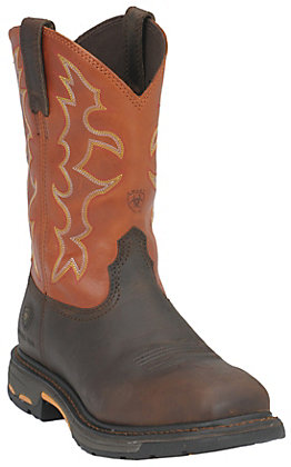 Ariat Men's WorkHog Earth Brown and Brick Orange Square Steel Toe Work Boot