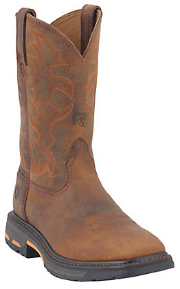 Ariat Workhog Men's Toast Brown Square Toe Western Work Boots