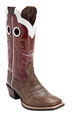 Ariat Men's Wildstock Adobe Brown with Red Double Welt Wide Square Toe Western Boot