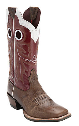 Ariat Wildstock Men's Adobe Clay & Red Wide Square Toe Western Boots