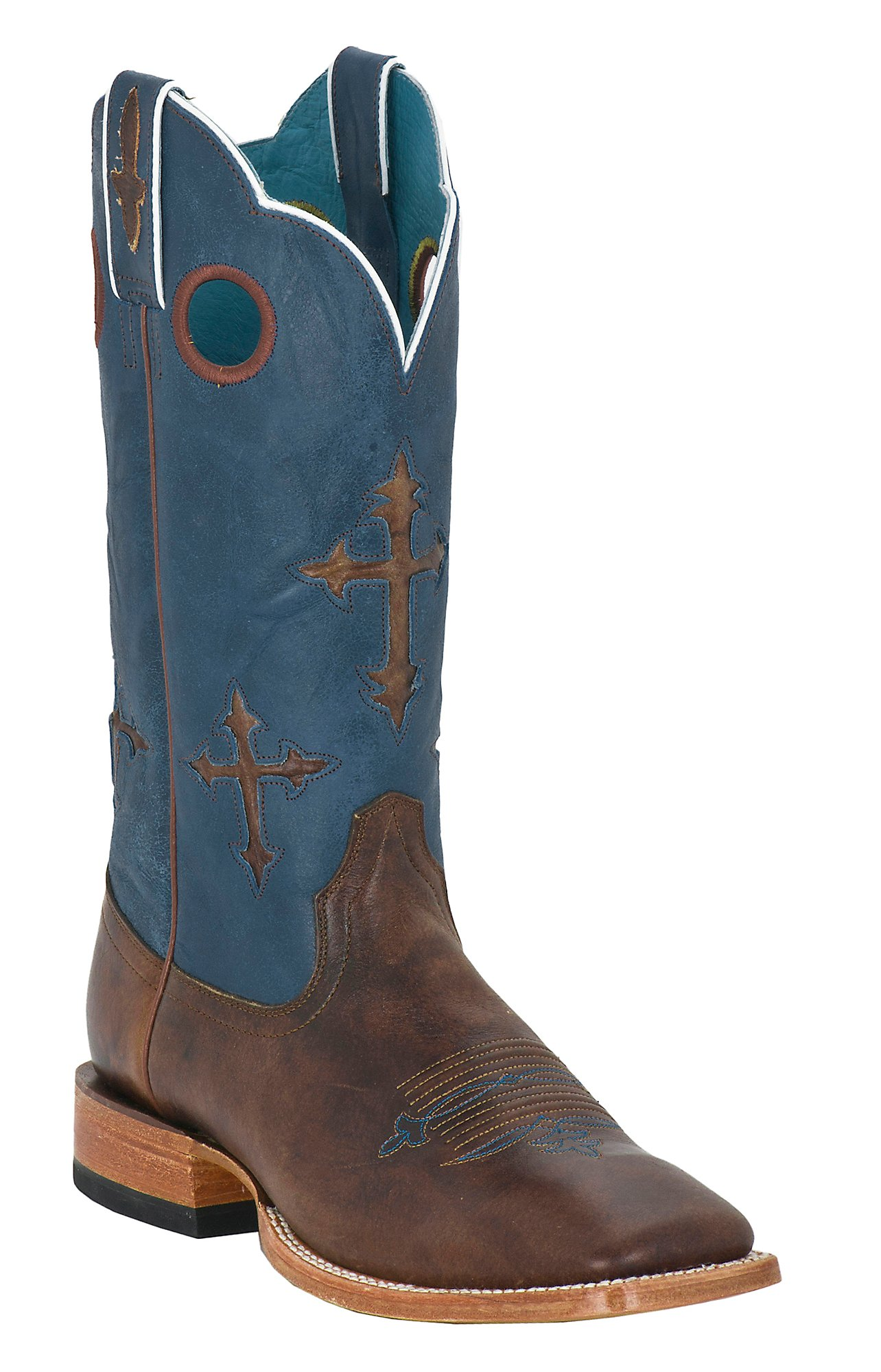 Ariat Men's Ranchero Brown w/ Crosses on Blue Top Square Toe ...