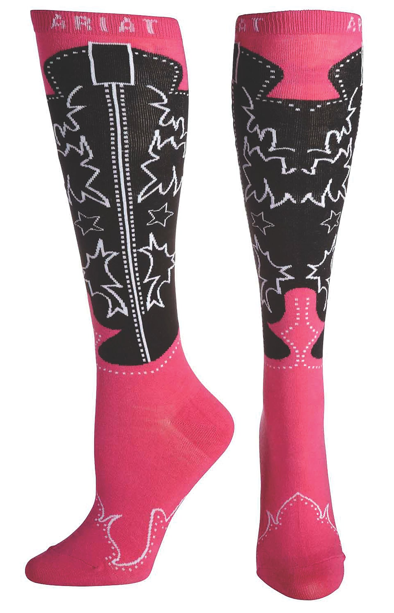 Ariat Women's Pink and Black Western Boot Knee High Socks | Cavender's